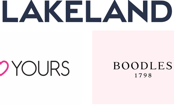 Lakeland logo, Yours Clothing logo and Boodles logo