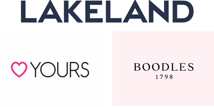 Lakeland logo, Yours Clothing logo and Boodles logo