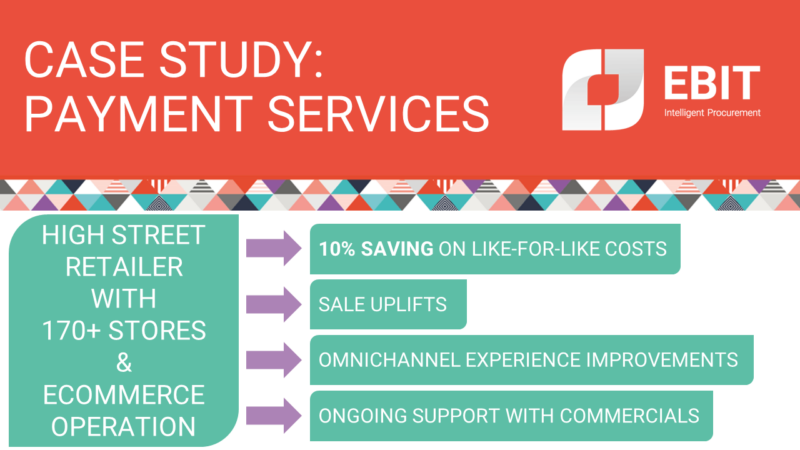 Case study: payment services. Ebit worked with a high street retailer with 170+ stores and an ecommerce operation. 10% saving on like for like costs, sale uplifts, omnichannel experience improvements, ongoing support with commercials