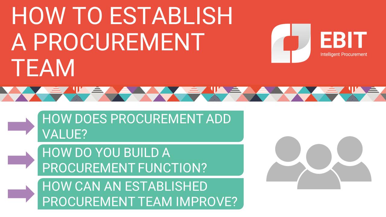 How to establish a procurement team. How does procurement add value? How do you build a procurement function? How can an established procurement team improve?
