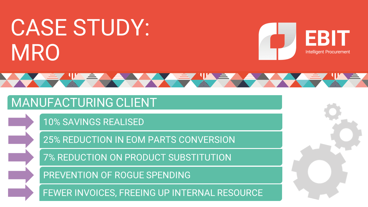 Case study: MRO. Manufacturing client. 10% savings realised, 25% reduction in EOM parts conversion, 7% reduction on product substitution, prevention of rogue spending, fewer invoices, freeing up internal resource